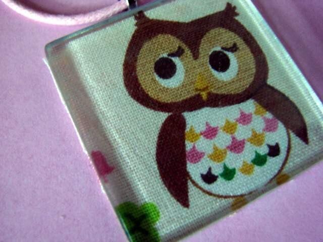 Retro OwlFabric Pendant Jewelry Necklace Tile Art