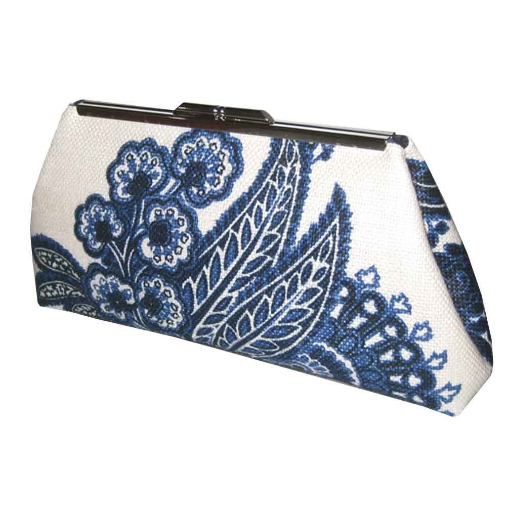 MODERN LINEN CLUTCH - Blue and White Floral
