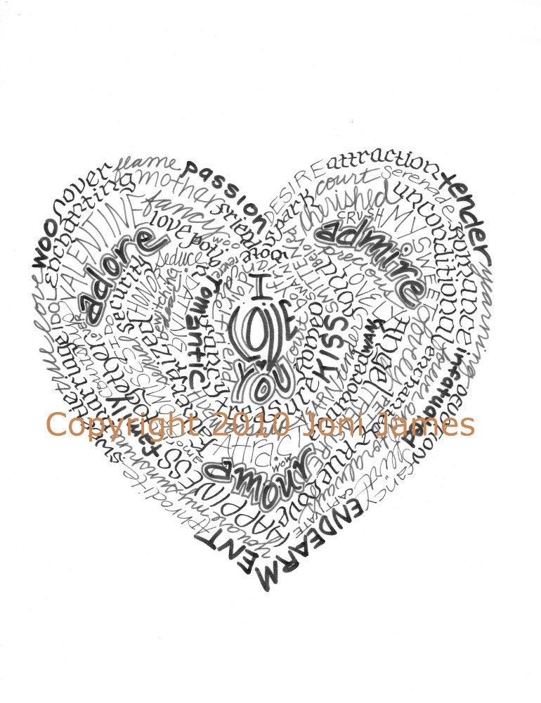 Love Heart Art. Love Heart Art Calligram Print