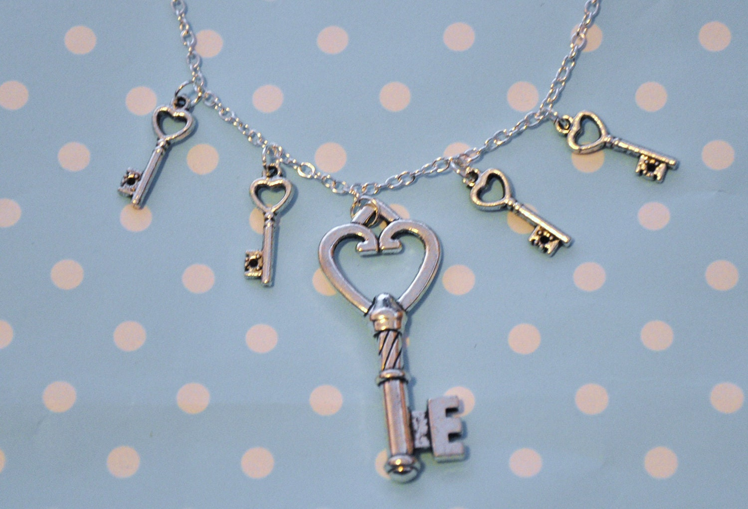 Key Charm Necklace - Cute, Pretty Silver Plated Jewelry - Four little keys surround one large key charm - Quirky, Fun Jewellery