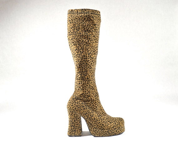 70s leopard knee high go go boots zodiac boots 7 by