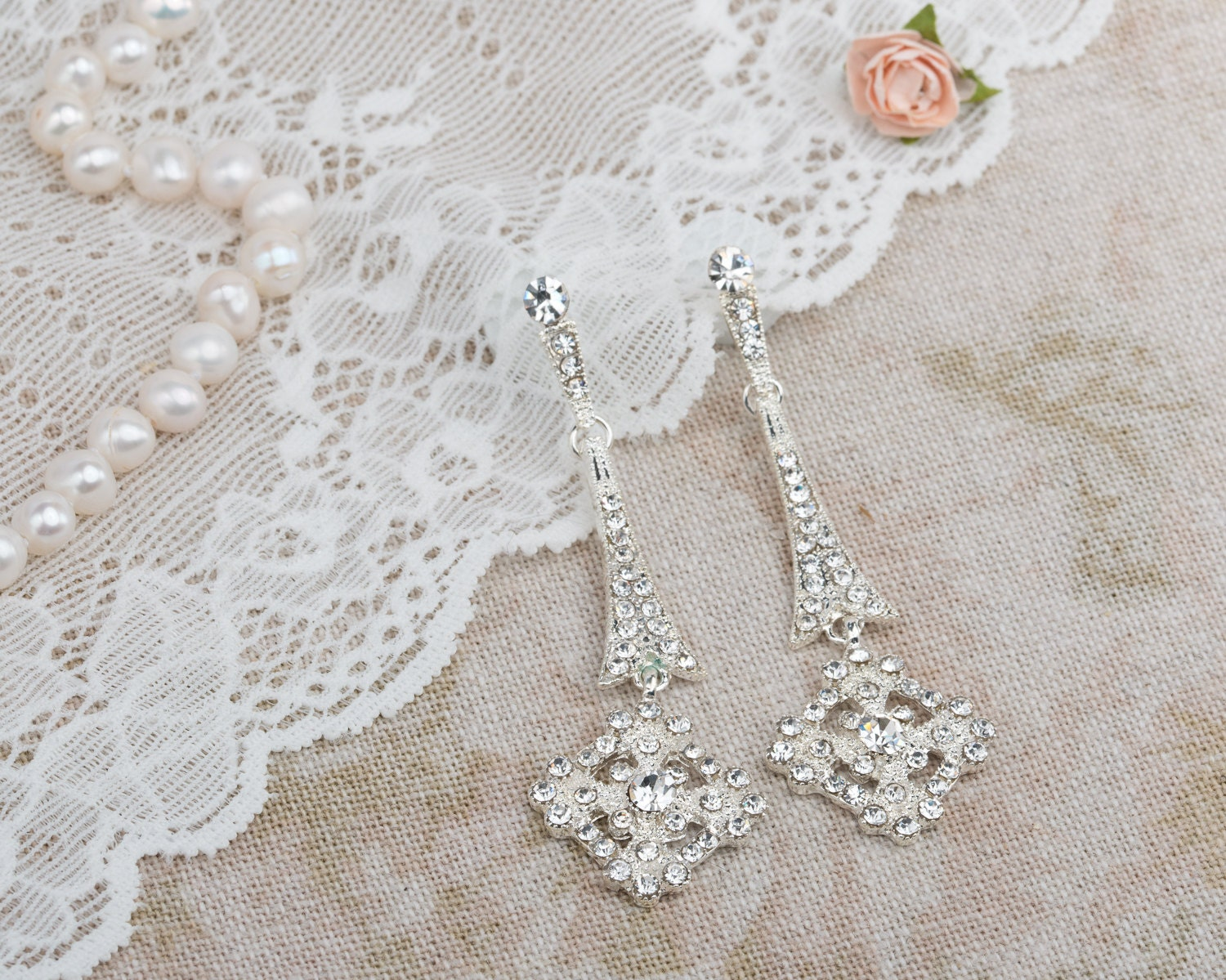 Edwardian drop earrings with crystals Art deco Chandelier earrings Bridal jewellery Dangle Earrings for Edwardian Bride Celtic cross
