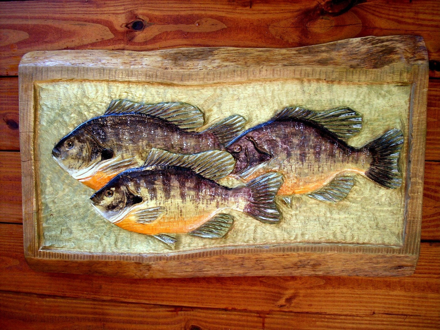 Bream plaque inch chainsaw carving school by