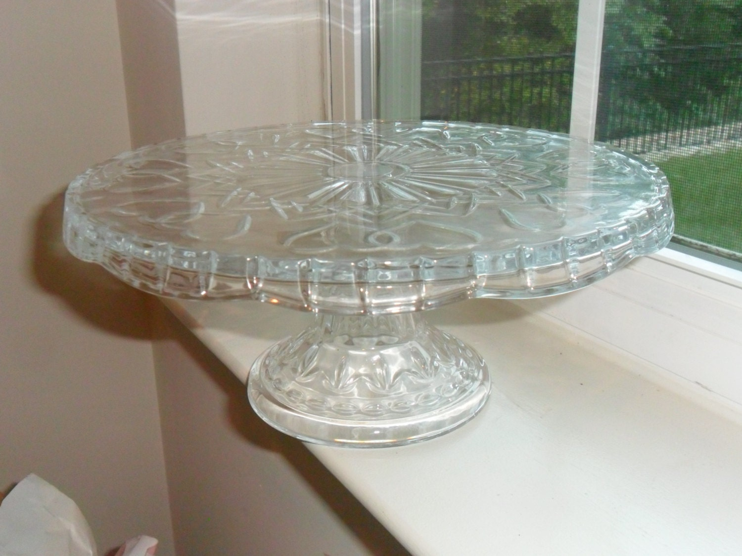 Vintage Cut Glass Cake Stand with Double Heart by ...