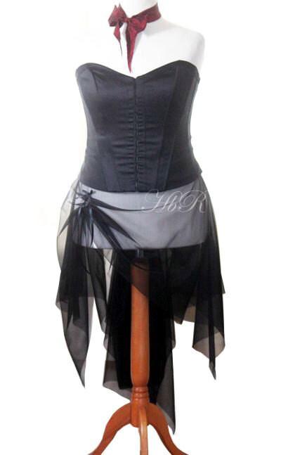 Black overskirt / bustle size 10 12 14 16 18 20 gothic fantasy steampunk emo lolita cyber burlesque - handmadebyreplay