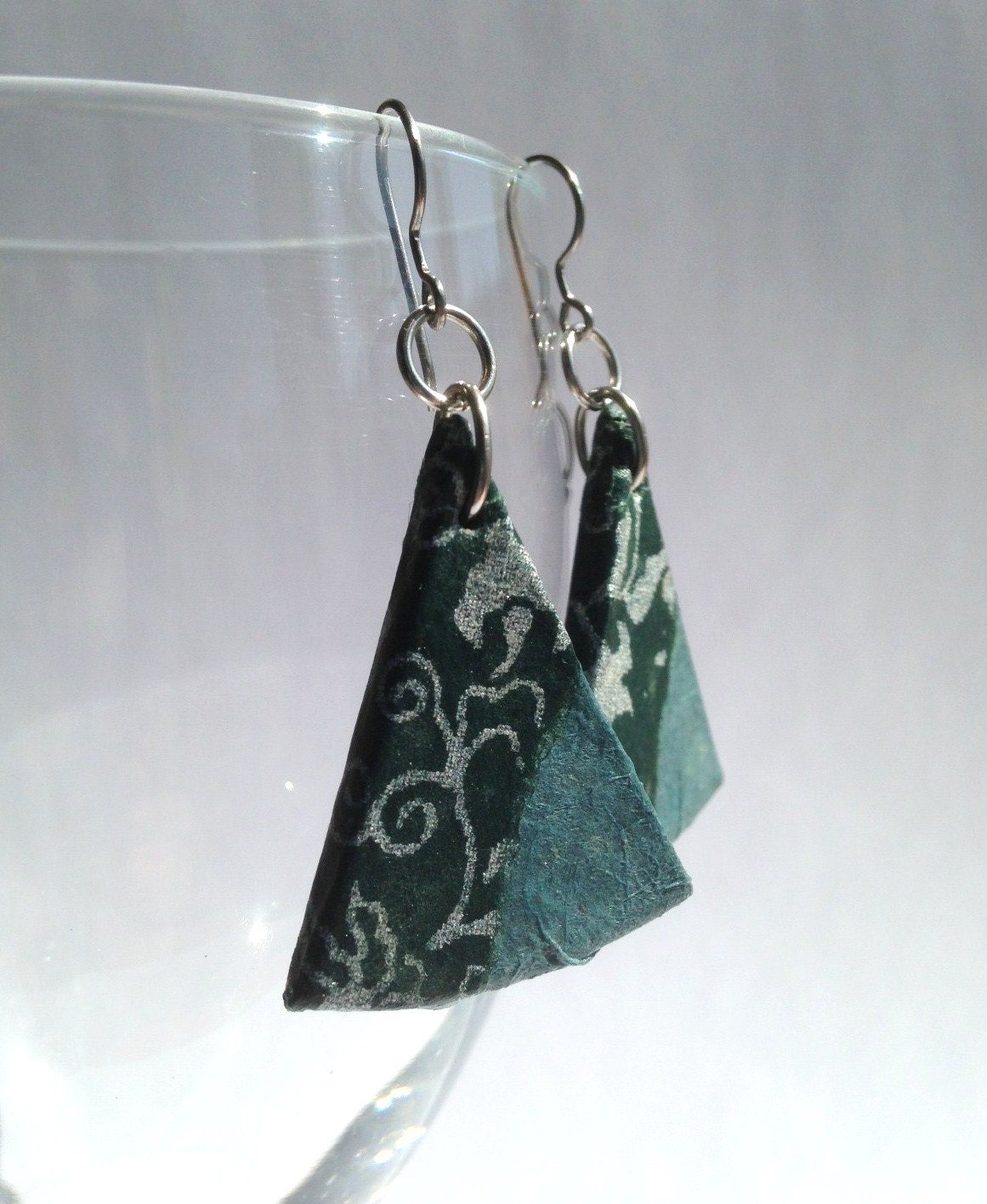 Triangle Green Hanji Paper Dangle Earrings OOAK Handmade Silver Flower Hypoallergenic hooks Lightweight - HanjiNaty