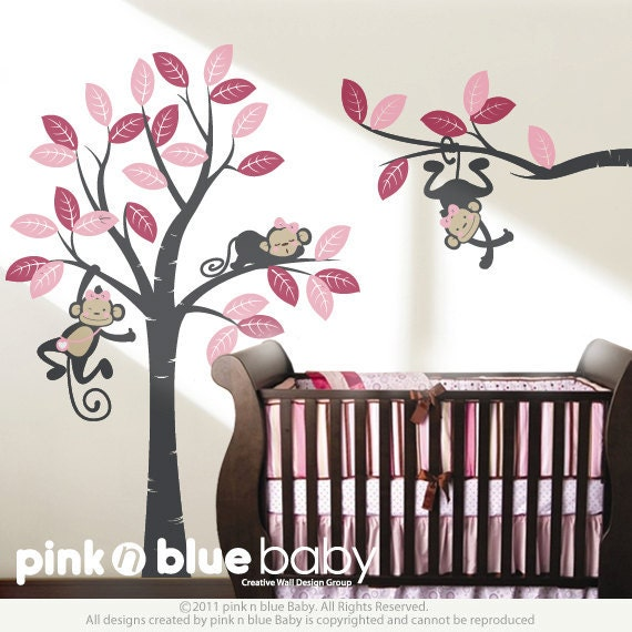 wall decal girl monkeys on the tree baby nursery by pinknbluebaby. Black Bedroom Furniture Sets. Home Design Ideas