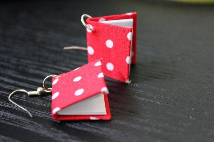 Mini Book Earrings (Polka Dots)