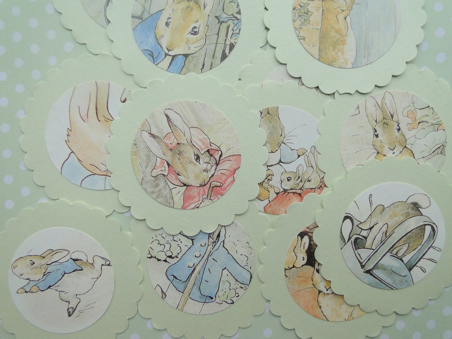 12 Peter Rabbit Easter Tags and Cupcake Toppers