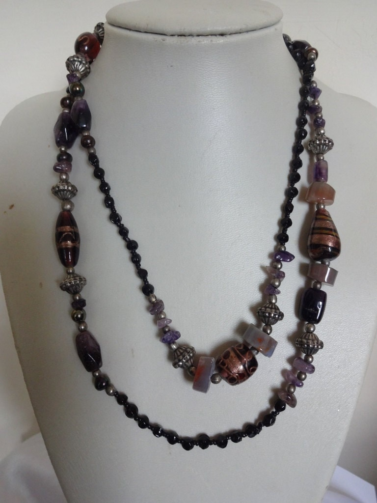 Vintage Murano Foil Glass  Amethyst Bead Long Flapper Style Necklace Amethyst Necklace Murano Glass Necklace