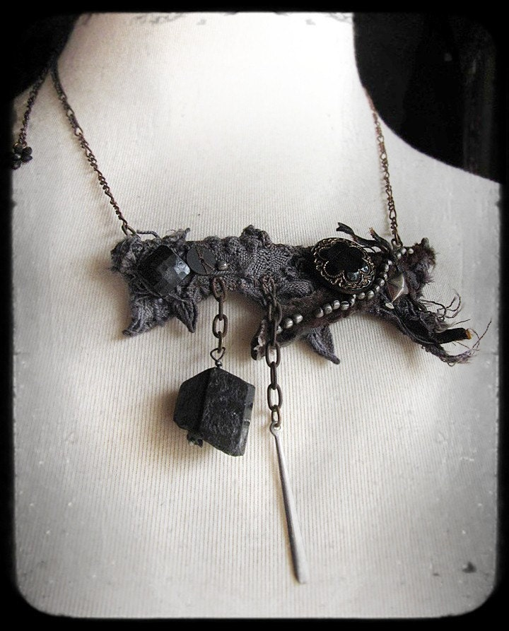 midnight air - salvage textile necklace with black tourmaline and antique buttons