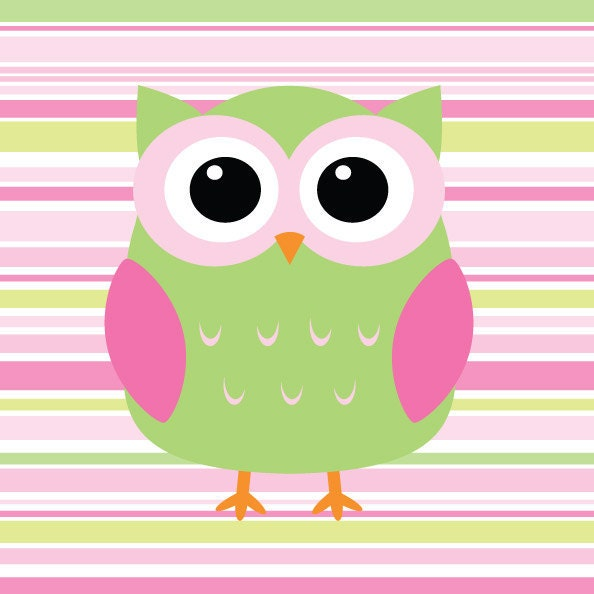 Pink and Green Nursery Decor Girl's Owl Nursery Print by ...
