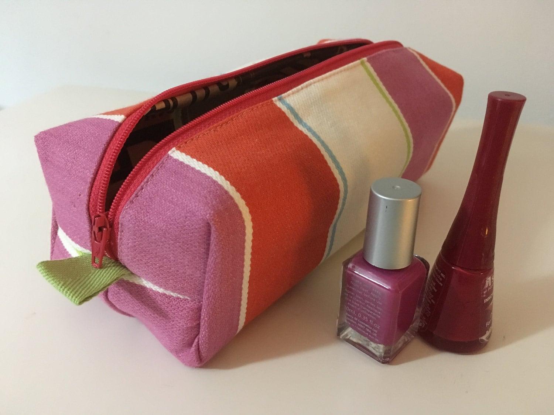 Lined wash bag Waterproof makeup pouch Ladies travel toiletries bag Beauty bag Cosmetics case Zipped box bag Beautiful striped fabric