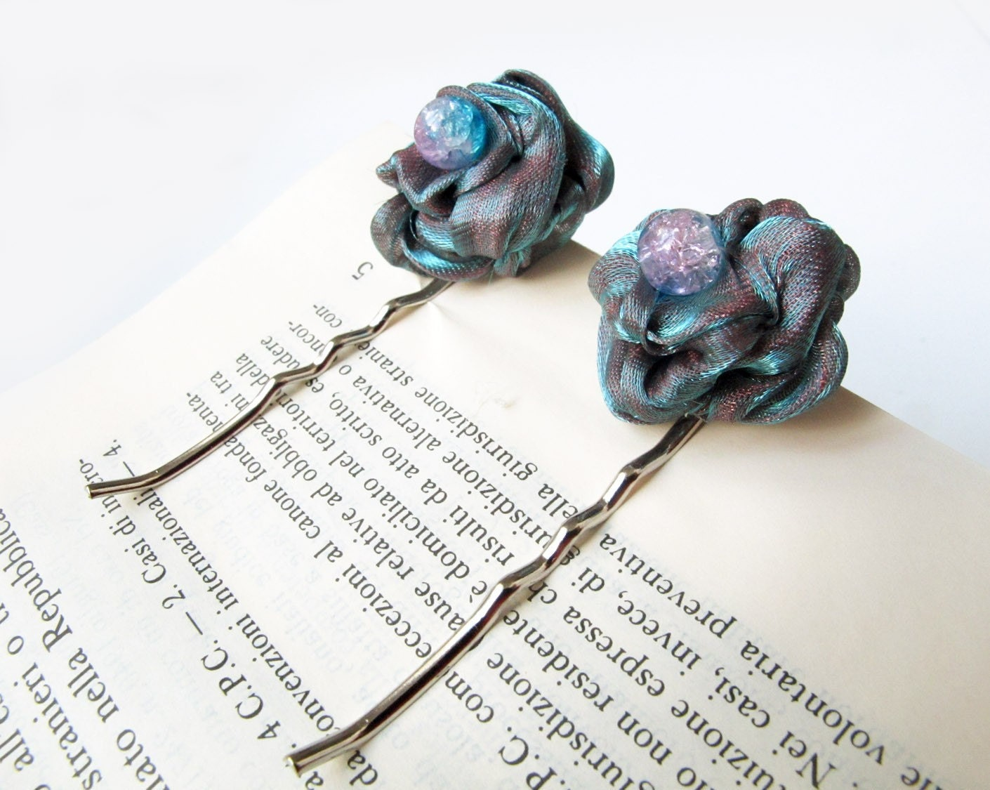 Organza flowers bobby pins - set of 2 - FREE SHIPPING WORLDWIDE