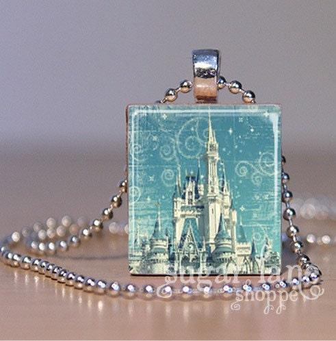 Vintage Cinderella Castle Scrabble Tile Pendant Necklace (SVH2) with Chain