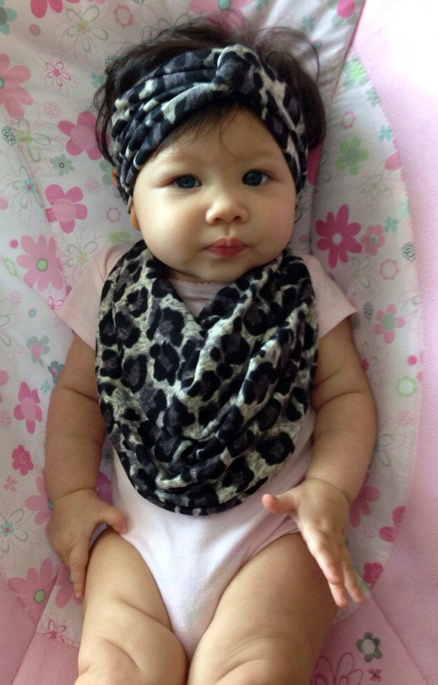 Matching Baby Scarf Bib & Turban Headband combo that serves a dual ...