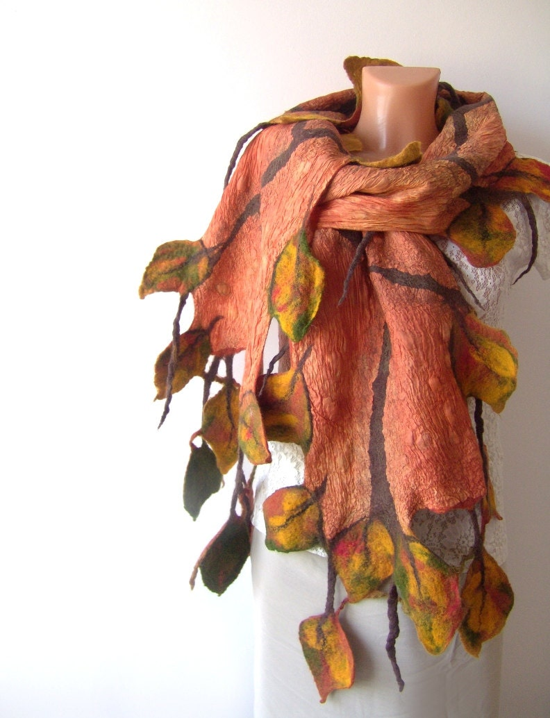 Nuno Felted scarf   Autumn leaf  yellow ginger green orange - galafilc