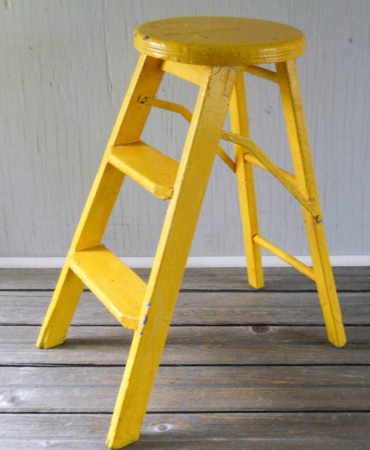 Vintage Folding Step Ladder Stool Yellow By Lisabretrostyle2