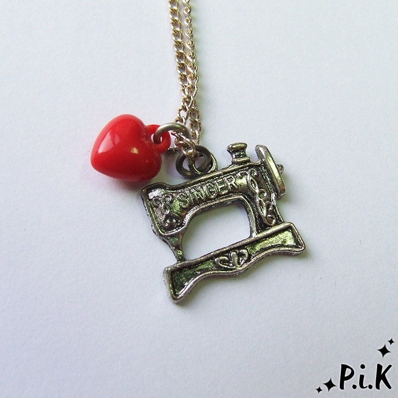 I LOVE TO SEW Sewing Machine Necklace with vintage sewing machine and heart charms