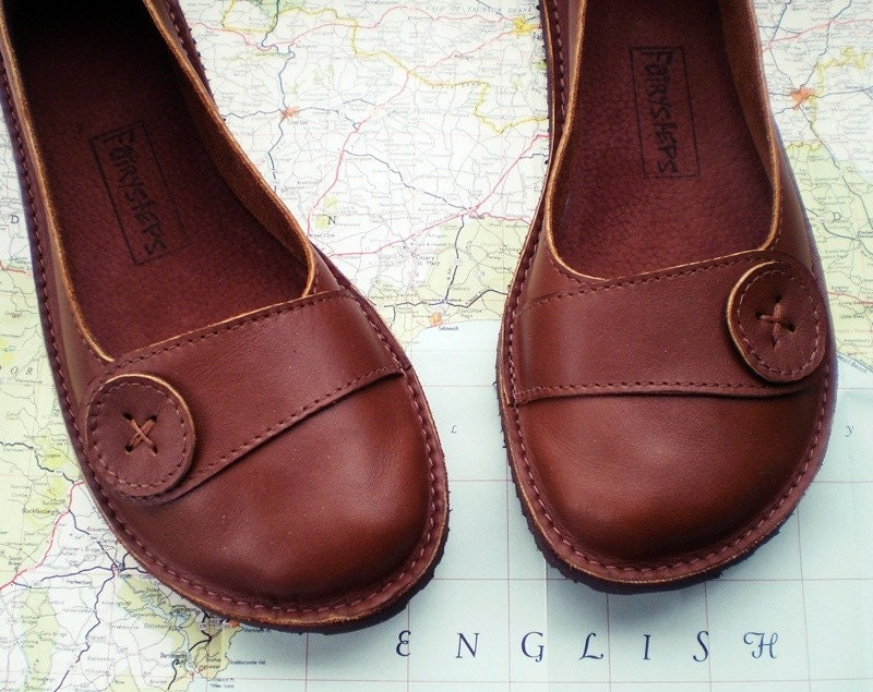 UK 7, Handmade leather shoes, D fitting, Brown, HOMILY 1156