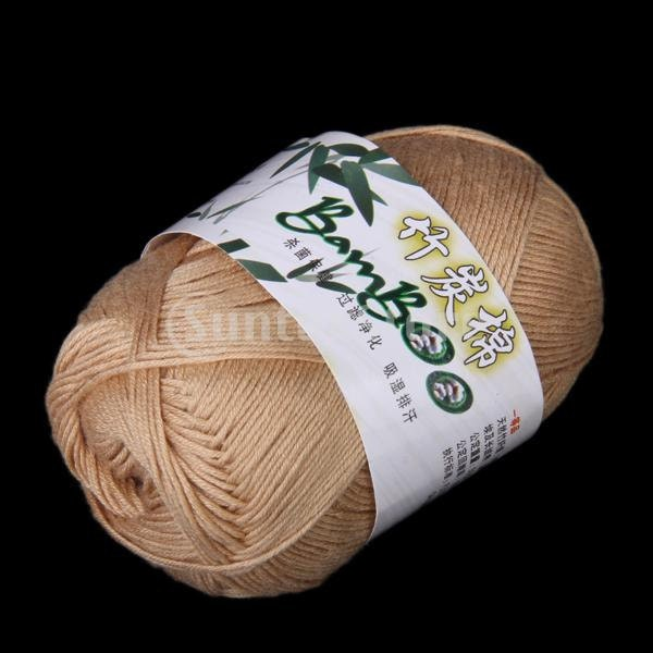 Bamboo Yarn : Tencel Bamboo Cotton Yarn For Baby Khaki / 30 by SusanSupply