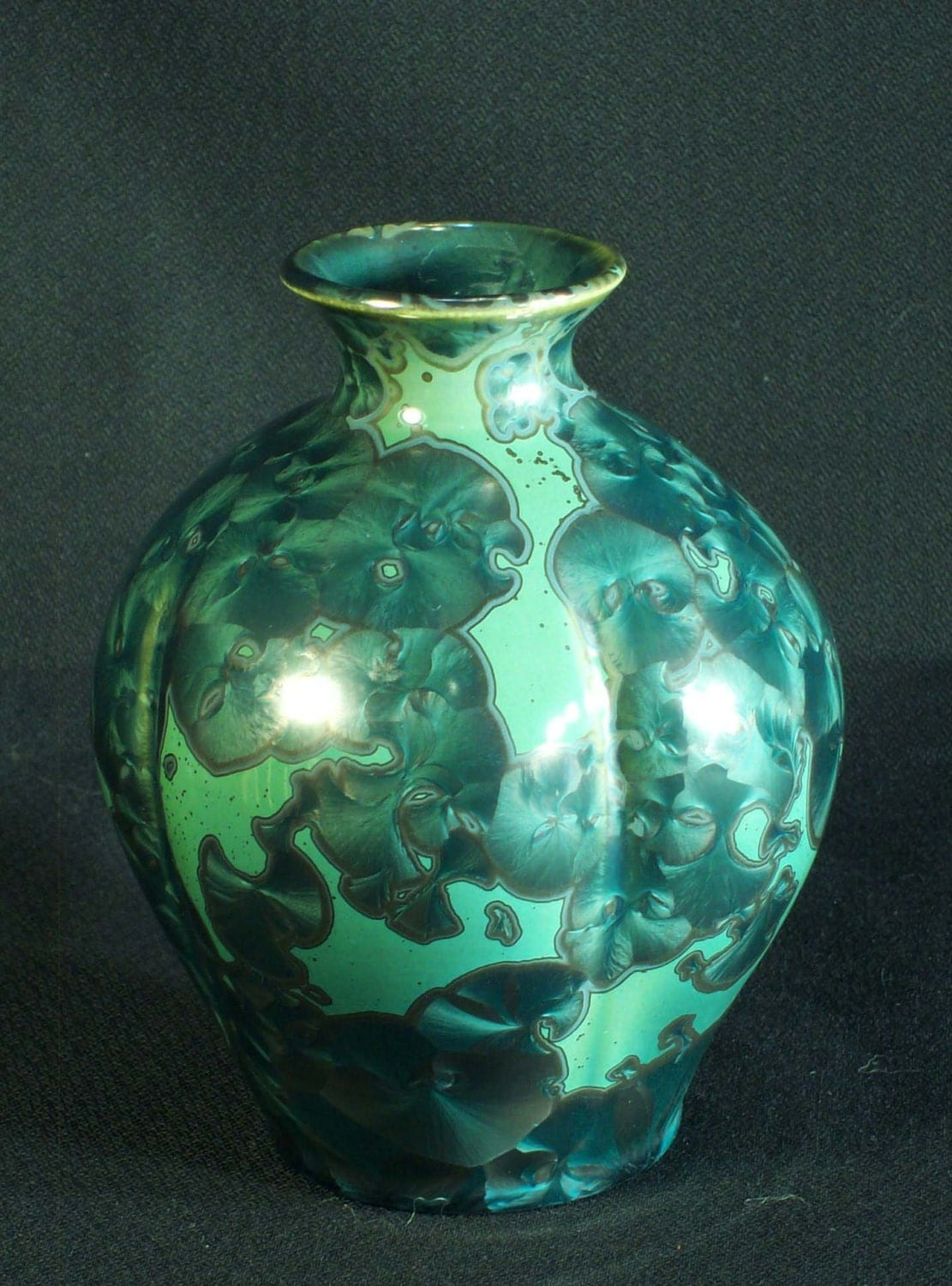 Teal and Mint Green Crystalline Glaze Vase - MorganHarrisPottery