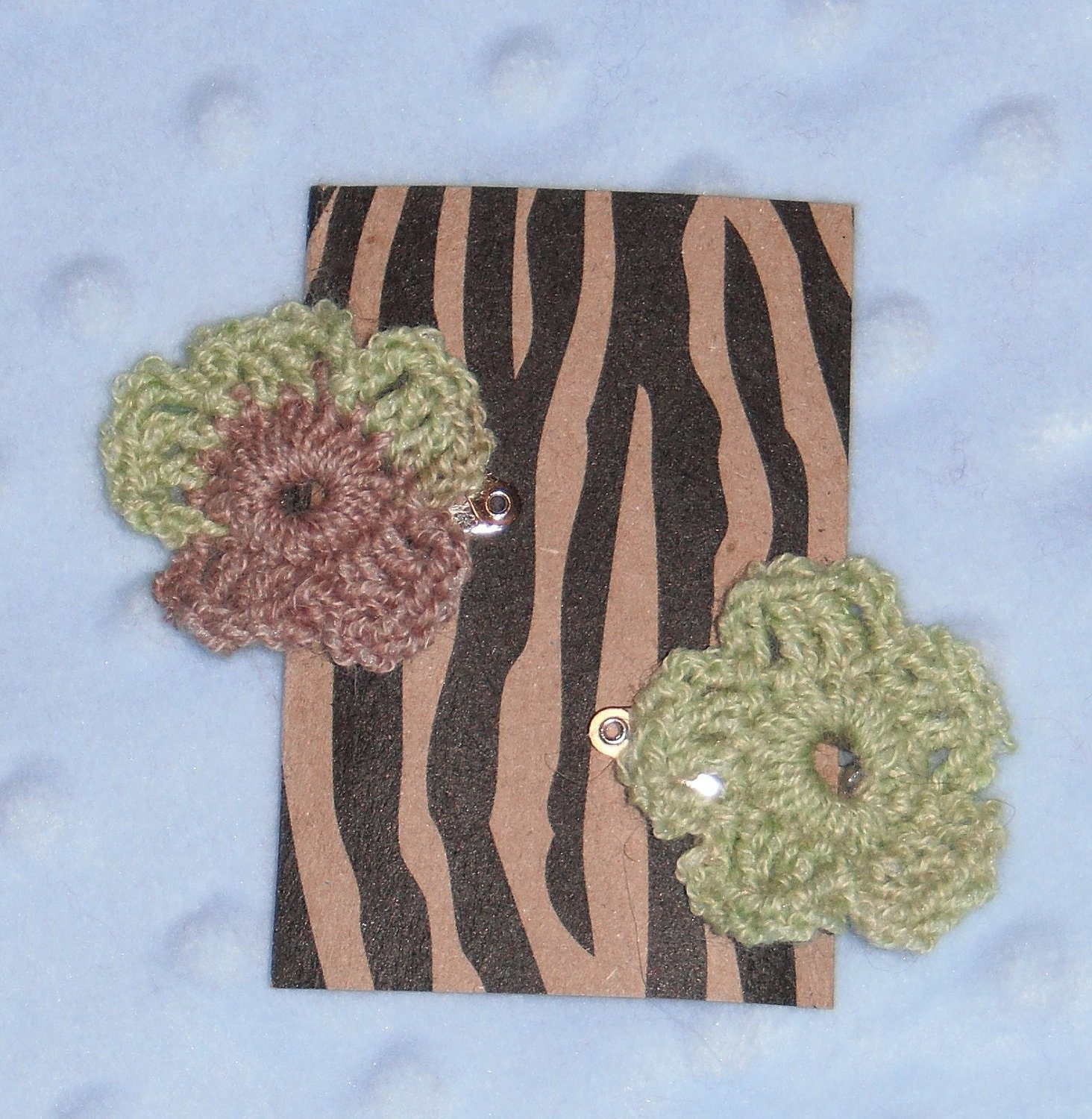 Soft Green & Brown Blend Crochet Baby Hair Clips- Set of 2