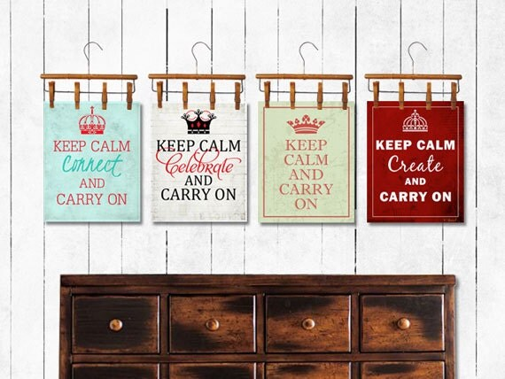 Art, Print, Keep Calm and Carry On, Collection, Red, Turquoise, Black, Green, Aqua, Pink, Coral