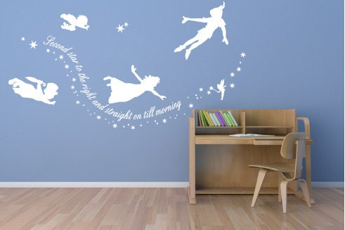 peter pan wall decal sticker custom mural second by quirkyworks33. Black Bedroom Furniture Sets. Home Design Ideas