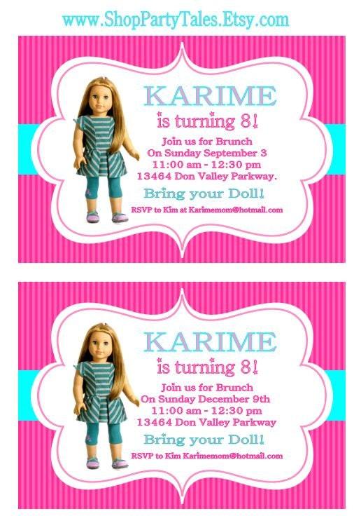 AMERICAN GIRL Doll Printable Birthday Girl Party INVITATION Invite