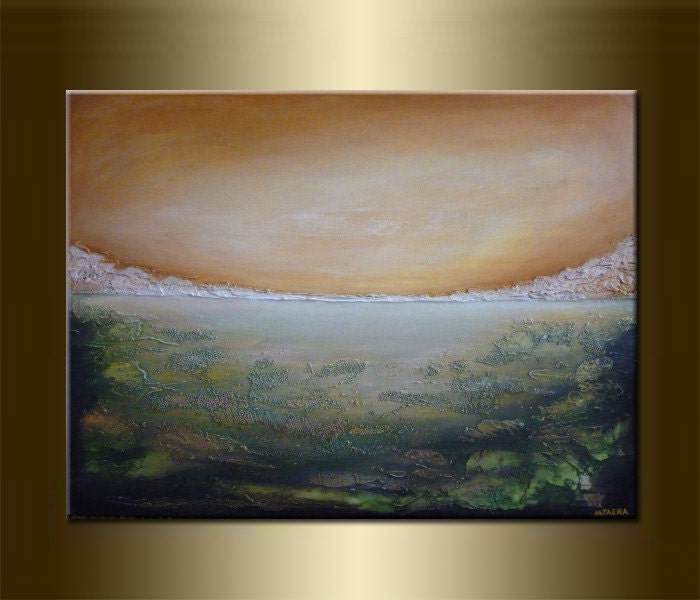 ORIGINAL LANDSCAPE TEXTURED abstract PAINTINGacrylic by nataera