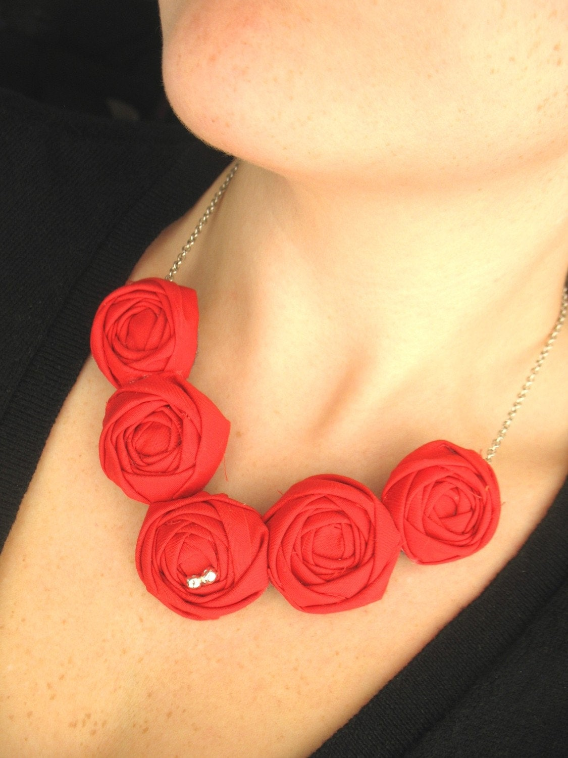 Cherries on Top fabric flower rosette bib necklace