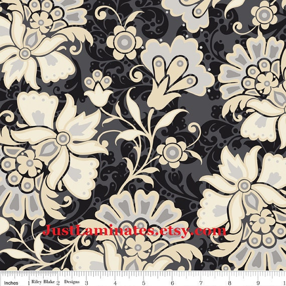 Laminated cotton fabric Lost & Found Main floral black 1 yard