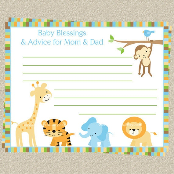 baby advice cards baby shower jungle safari theme advice for new