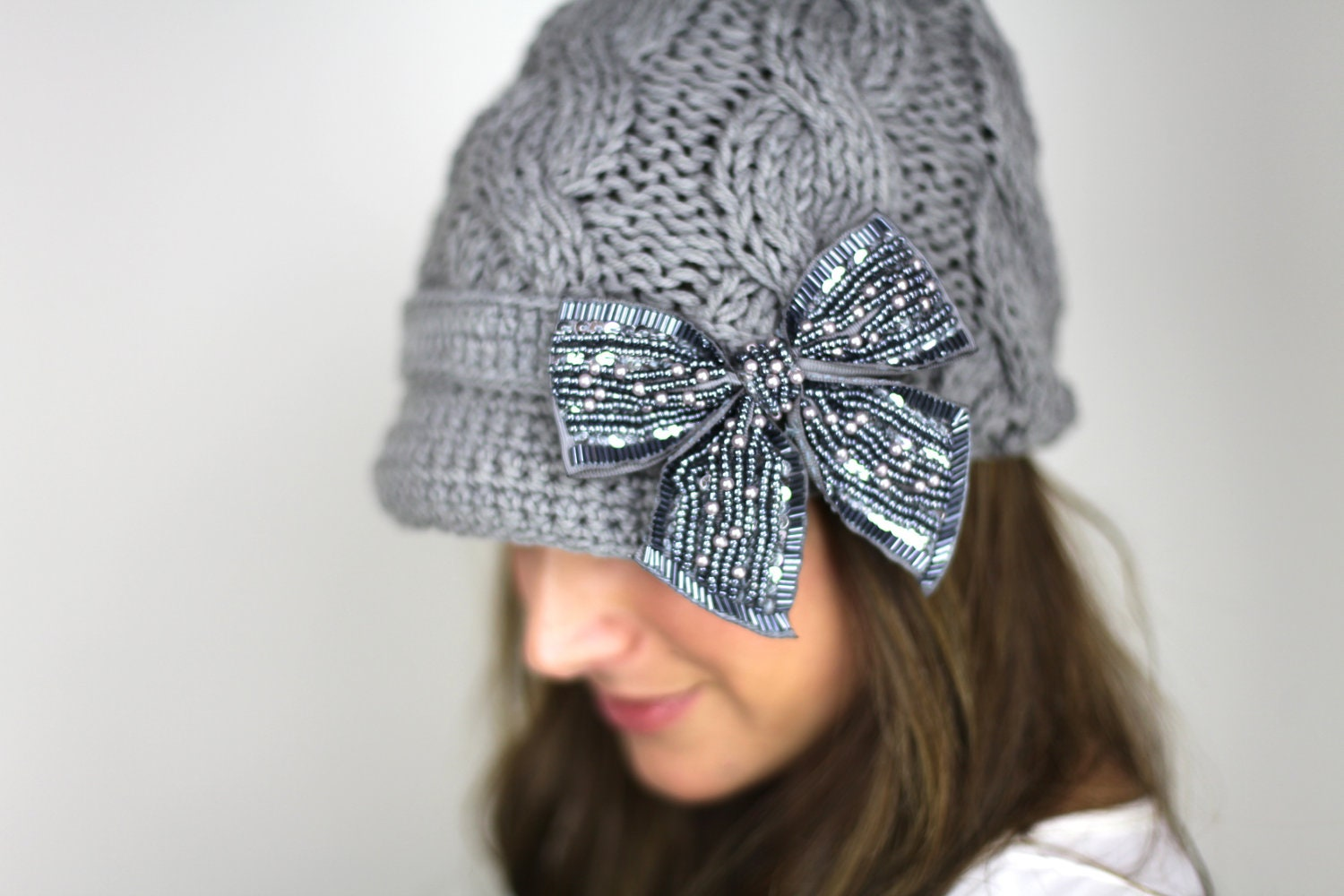 knitted hat, gray knitted bow hat, brown hat, knit hat, gray bow hat, winter hat, silver bow - gertiebaxter