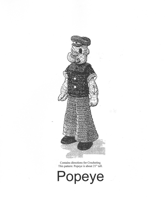 Crochet Pattern Popeye Doll : Vintage Popeye Doll Crochet Pattern PDF Instant by dianeh5091