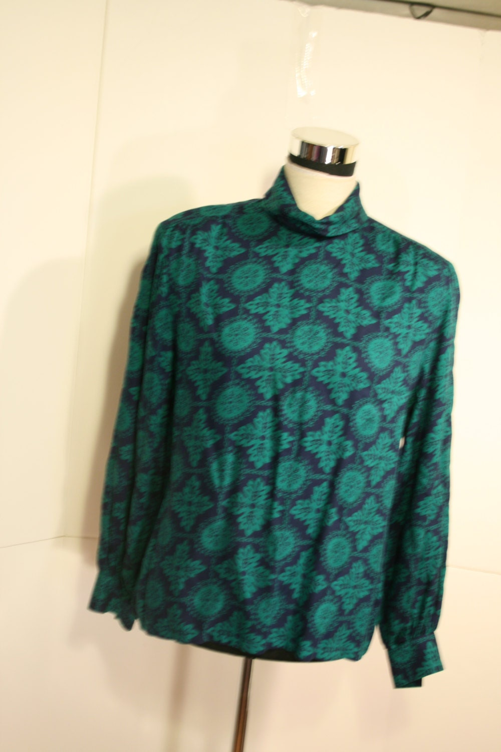 Pendleton Country Sophisticates Skirt & Blouse size 14 Green Blue floral print - GrammyKayFinds