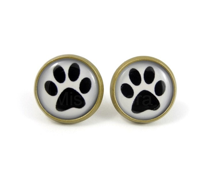 Dog Paw Stud Earrings - Paw Print Earring Posts - Black and White Earring Posts - Free Shipping Etsy - Cyber Monday Etsy - MistyAurora
