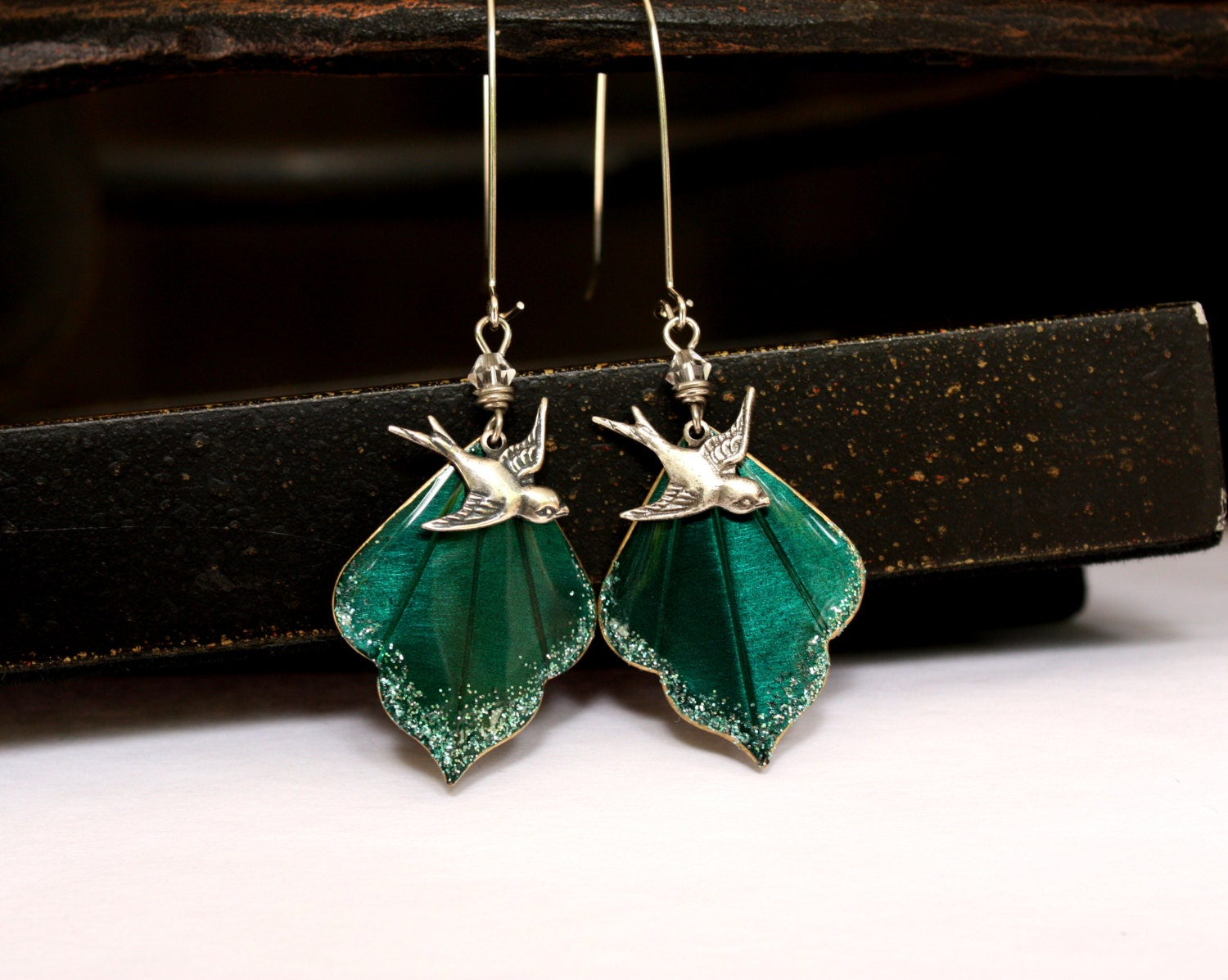 Wedding Jewelry Bridal Earrings for Her Blue Green Dangle Charm Bird Drop Earrings Bridesmaid Gift for the Mother of the Bride - MStevensonDesigns
