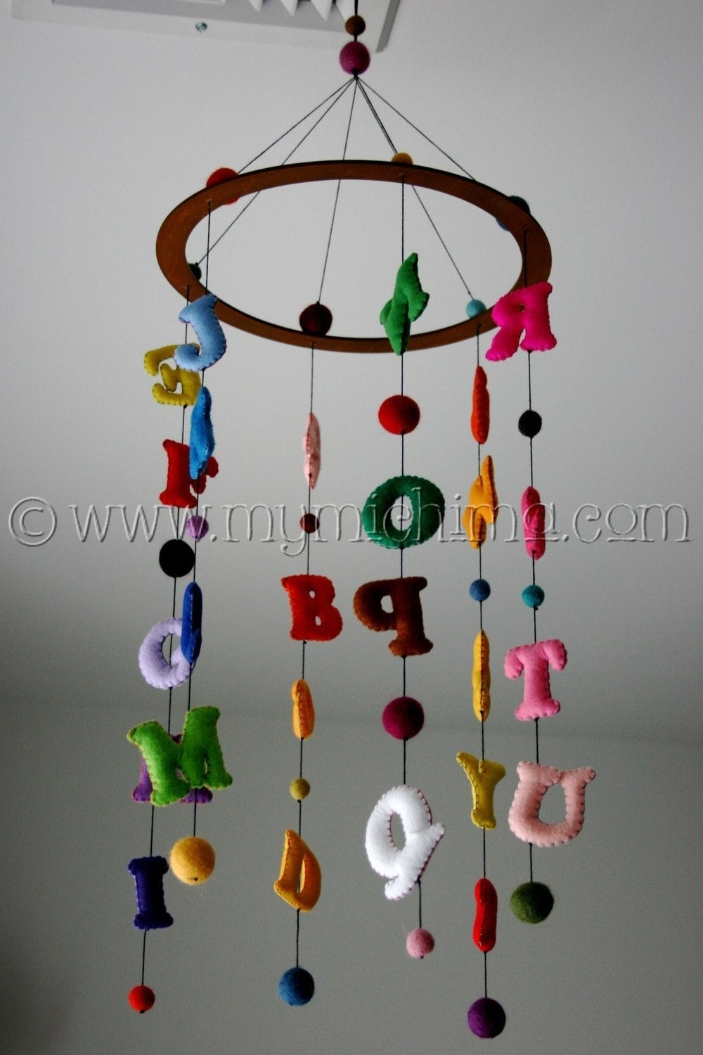 Now I Know My ABCs - Decorative Hanging Mobile - Stuffed Felt Alphabet Letters