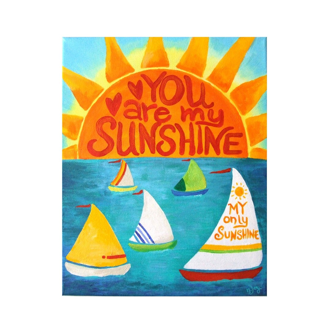 Art for Kids, YOU Are My SUNSHINE, Sailboats, COMMISSION Your Own 11x14 Canvas, Nursery Decor, Boys Room, Sailboat Art - nJoyArt