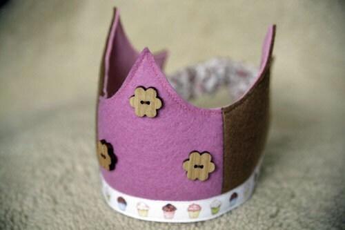Wool  Felt Crowns - pink cupcakes