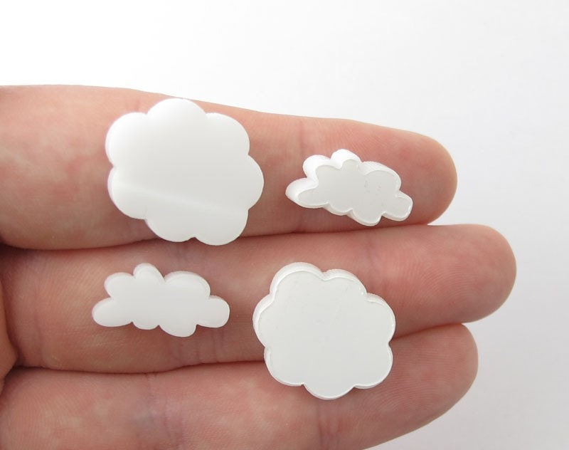 4 Cloud Charms (Qty. 4) - Laser Cut Acrylic - Various Colors