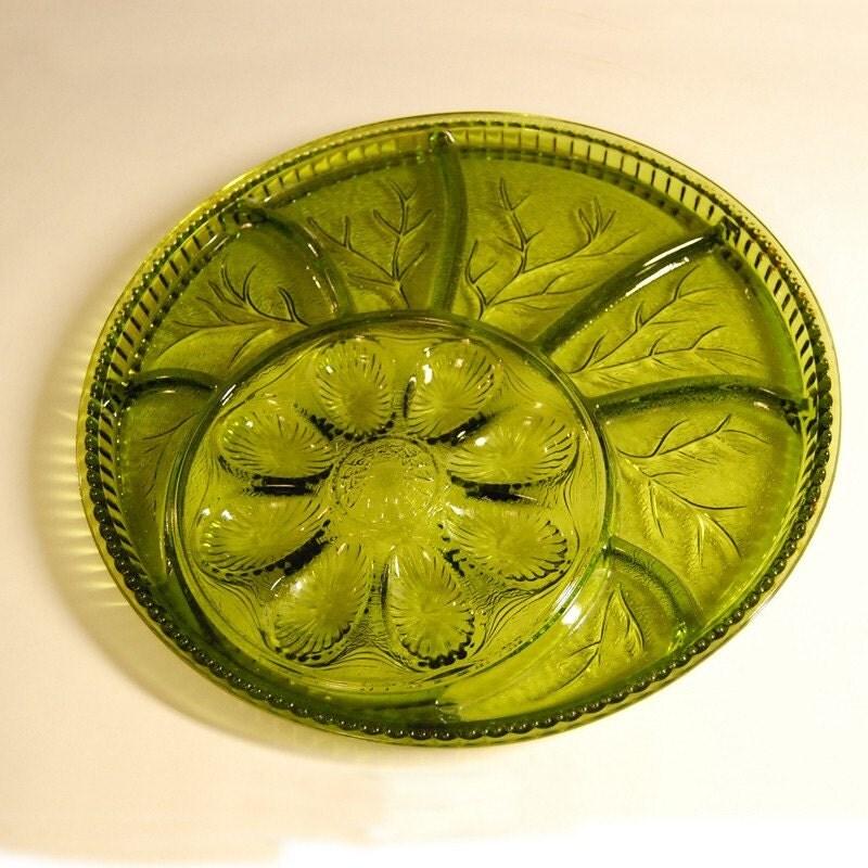 ... similar to Indiana Glass Olive Green Deviled Egg & Relish Tray on Etsy
