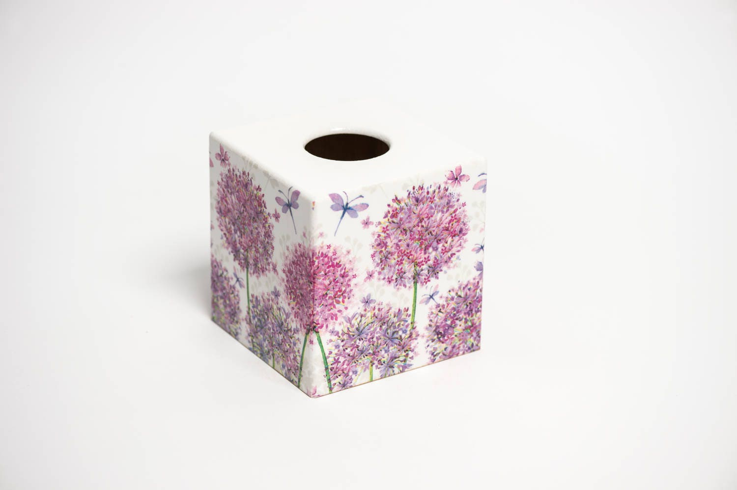 Pink Allium Tissue Box Cover wooden handmade in UK
