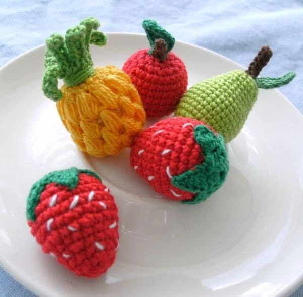 Amigurumi Fruit : Crochet Amigurumi Fruits Strawberry Apple Pear by ...