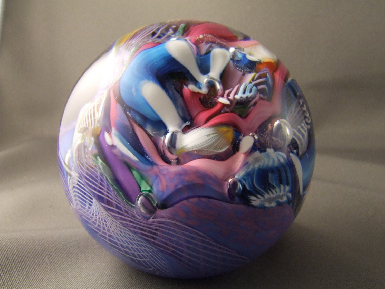 Handblown glass paperweight - Latticino cane - murrini - Mentuck art glass