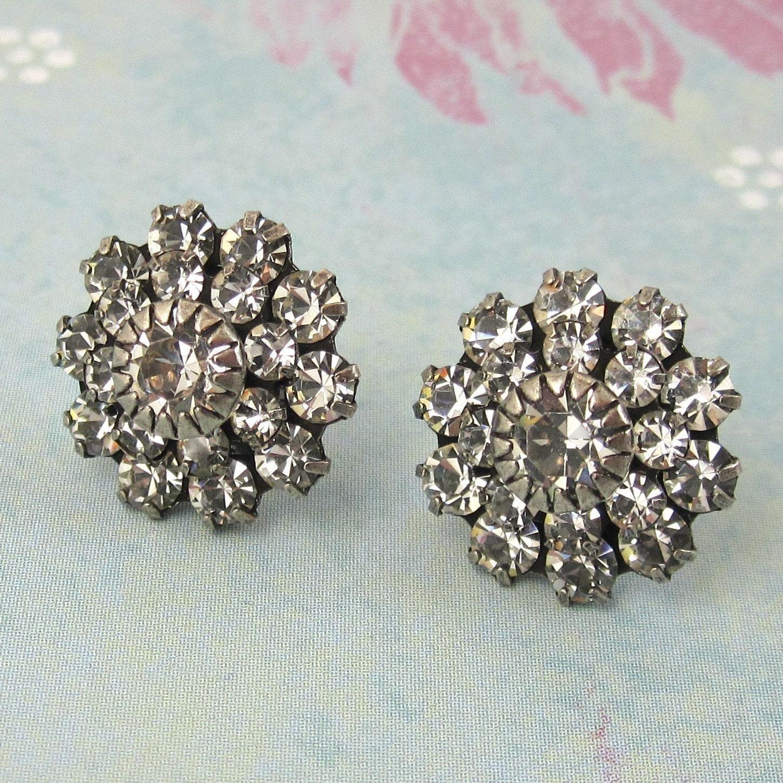Large Crystal  Swarovski Crystal Post Earrings perfect bridal earrings