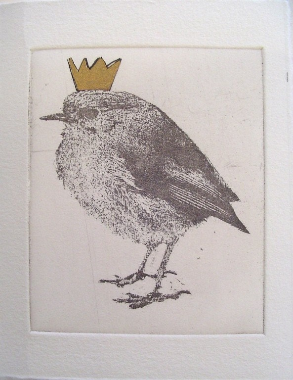 Small original bird etching