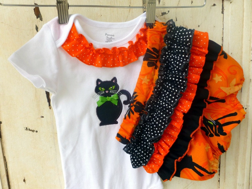 Halloween Kitty Onesie with Bloomers Ruffled Bum Diaper Cover Panties Set